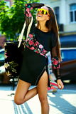 Glamor stylish model in hipster summer clothes Royalty Free Stock Images