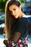 Glamor stylish model in hipster summer clothes Stock Photography