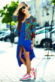 Glamor stylish model in hipster summer clothes Royalty Free Stock Image