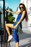 Glamor stylish model in hipster summer clothes Royalty Free Stock Photography