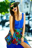 Glamor stylish model in hipster summer clothes Stock Image