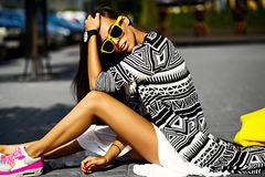 Glamor stylish model in hipster summer clothes Stock Images