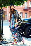 Glamor stylish model in hipster summer clothes Royalty Free Stock Photo