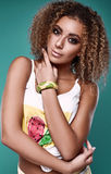Glamor swag black hipster woman model with curly hair Royalty Free Stock Image
