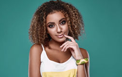 Glamor swag black hipster woman model with curly hair Stock Photos