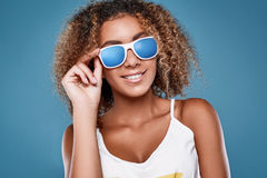 Glamor swag black hipster woman model with curly hair Royalty Free Stock Photo
