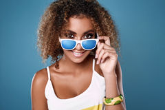 Glamor swag black hipster woman model with curly hair Stock Image
