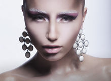 Glamor. Trendy Woman with Pearly Eardrops Royalty Free Stock Photography