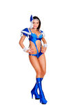 Glamor woman in blue stage costume Stock Photo