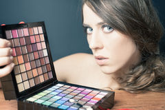 Glamor woman with colorful palette for fashion makeup Royalty Free Stock Photos