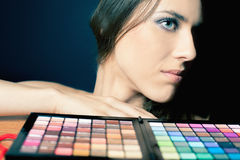 Glamor woman with colorful palette for fashion makeup Royalty Free Stock Photography