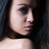Glamor woman dark face portrait royalty free stock images