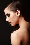 Glamor woman dark face portrait, beautiful female Stock Image