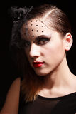 Glamor woman dark face portrait, beautiful female stock photo