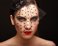 Glamor woman dark face portrait, beautiful female Stock Photography