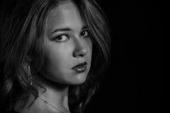 Glamor woman dark portrait, beautiful female isola Stock Photos
