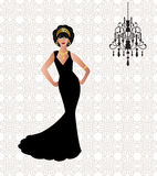 Glamor woman. Dressed for special occasion with background pattern and light vector illustration