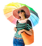 Glamor woman summer rainbow umbrella Royalty Free Stock Photos