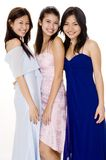 Glamorous #3. Three attractive young asian women in evening dresses Royalty Free Stock Images