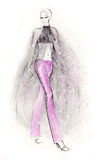Glamorous. Fashion illustration showing a model wearing a sexy catwalk outfit. Digitally cleaned background; created with pencils and ink Royalty Free Stock Images