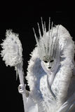 Glamorous and amazing  model with white costume and cristal crown during venice carnival Stock Image