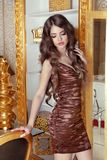 Glamorous beautiful girl model with long wavy hair. Female posin. G over luxury furniture, beauty and fashion concept Royalty Free Stock Photography