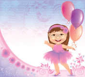 Glamorous birthday background with little girl vector illustration
