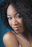 Glamorous Black woman. A closeup studio portrait of a glamorous black woman of African/Haitian descent Royalty Free Stock Photos