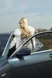 Glamorous blond babe near tuned super car Stock Image