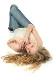 Glamorous Blond on Floor Stock Images