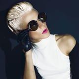 Glamorous Blonde on a Black Royalty Free Stock Photo