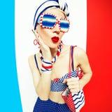Glamorous blonde marine style and beach accessories. fashion vac Stock Photos