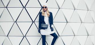Glamorous blonde on the street. urban fashion style Stock Photography