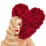 Glamorous Blonde Woman Fashion Model with Long Permed Hairstyle,. Red Lips Makeup and Heart of Red Rose Flower. Evening Make up and Hollywood wave Hairstyle of Royalty Free Stock Images