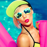 Glamorous Bright Fashion Lady Hot party in pool Royalty Free Stock Photo