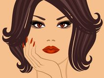 Glamorous brunette. Portrait of a glamorous brunette, with a fashionable hairstyle Royalty Free Stock Photos