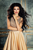 Glamorous Brunette Woman with Curly Hair and Makeup Royalty Free Stock Photos
