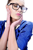 Glamorous business woman or teacher wearing glasse Royalty Free Stock Image