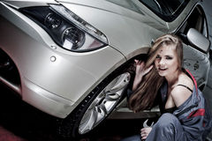 Glamorous Car Mechanic Stock Photography