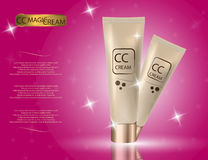 Glamorous CC cream packages on the sparkling effects background. Royalty Free Stock Images