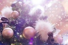 Glamorous Christmas tree. Pink balls Royalty Free Stock Photos