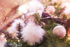 Glamorous Christmas tree. Pink balls Stock Photos