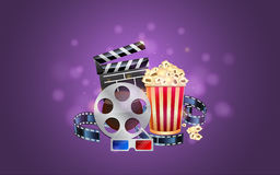 Glamorous cinema poster. With popcorn and 3d glasses Royalty Free Stock Photography