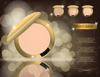 Glamorous compact foundation on the  sparkling effects backgroun. D. Mockup 3D Realistic Vector illustration for design, template Royalty Free Stock Photos