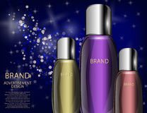 Glamorous Cosmetic Bottles, Jars on the Sparkling Effects Background. Royalty Free Stock Images