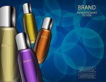 Glamorous Cosmetic Bottles, Jars on the Sparkling Effects Background Stock Photo