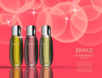 Glamorous Cosmetic Bottles, Jars on the Sparkling Effects Background. Royalty Free Stock Photography