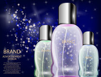 Glamorous Cosmetic Bottles, Jars on the Sparkling Effects Background. Stock Photography