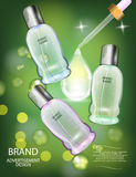 Glamorous Cosmetic Bottles, Jars on the Sparkling Effects Background. Stock Photo
