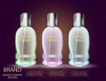 Glamorous Cosmetic Bottles, Jars on the Sparkling Effects Background. Royalty Free Stock Photo